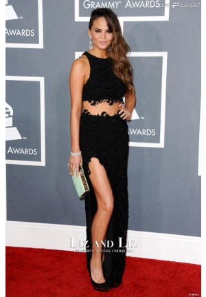 Chrissy Teigen Black Two-piece Prom Dress Grammys 2013 Red Carpet