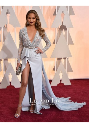 Chrissy Teigen Blue Long-sleeve V-neck Dress Oscars 2015 Red Carpet