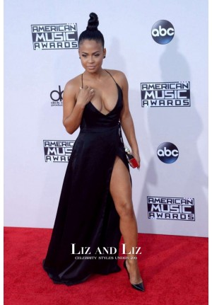 Christina Milian Black Plunging Red Carpet Dress American Music Awards 2015