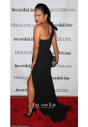 Christina Milian Black One-shoulder Celebrity Prom Dresses Hollywood Party