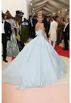 Claire Danes Baby Blue Strapless Ball Gown Met Gala 2016 Red Carpet Dress