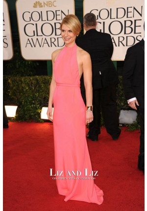Claire Danes Hot Pink Backless Red Carpet Dresses Golden Globes 2011
