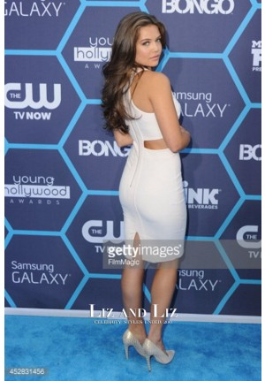 Danielle Campbell White Cocktail Dress Young Hollywood Awards 2014