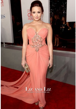 Demi Lovato Coral Strapless Red Carpet Dresses 2012 People's Choice Awards