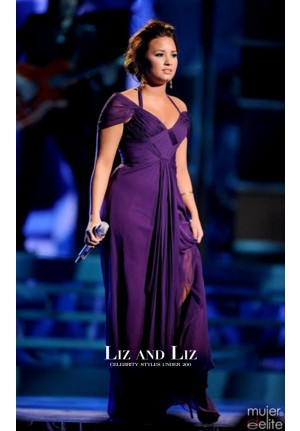 Demi Lovato Purple Chiffon Prom Celebrity Dresses Latin Grammy Awards 2011