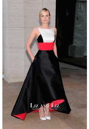Diane Kruger Red-white-black Dress Metropolitan Opera Season Opening