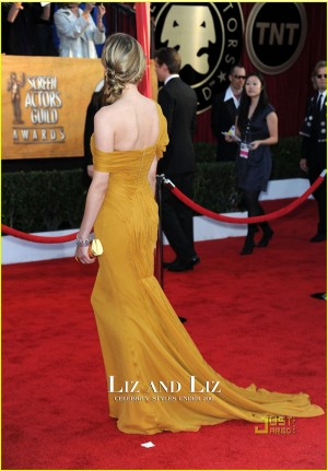 Diane Kruger Yellow Off-the-shoulder Red Carpet Dress SAG Awards 2010