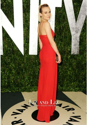 Diane Kruger Red Plunging V-neck Celebrity Prom Dress Oscars 2012