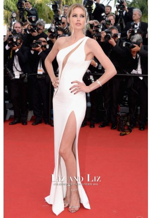 Doutzen Kroes White One-shoulder Red Carpet Prom Dress Cannes 2015