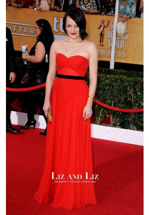 Elisabeth Moss Red Strapless Prom Dress SAG Awards 2014 Red Carpet