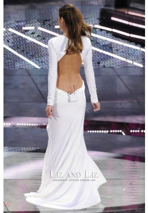 Elisabetta Canalis White Long-sleeve Cut-out Dress Sanremo Music Festival