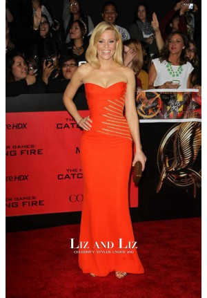 Elizabeth Banks Orange Strapless Celebrity Dress The Hunger Games LA Premiere