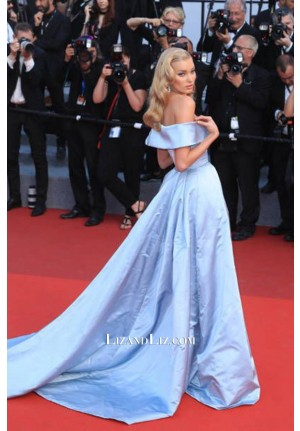 Elsa Hosk Blue Off-the-shoulder Formal Prom Celebrity Dress Cannes 2017