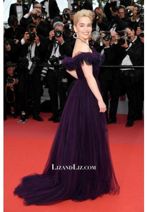 Emilia Clarke Grape Tulle Off-the-shoulder Celebrity Dress Cannes 2018