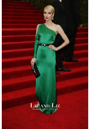 Emma Roberts Green One-sleeve Celebrity Dress 2015 Met Gala Red Carpet