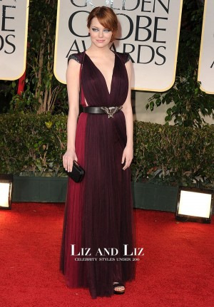 Emma Stone Purple V-neck Red Carpet Dress Golden Globes 2012