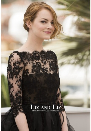 Emma Stone Short Black Lace Cocktail Dress Cannes 2014 Red Carpet