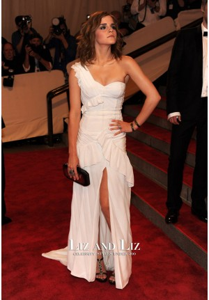 Emma Watson White One-shoulder Prom Dress Met Gala 2010 Red Carpet