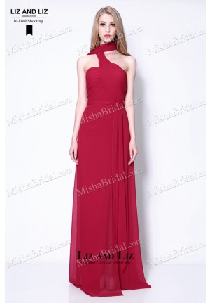 Emma Stone Red One-shoulder Chiffon Celebrity Dress Gangster Squad