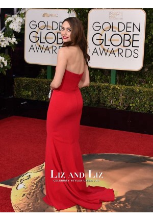 Emmy Rossum Red Strapless Celebrity Dress Golden Globes 2016 Red Carpet