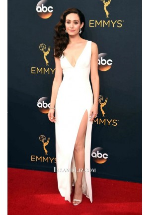 Emmy Rossum White V-neck Evening Prom Celebrity Dress Emmy Awards 2016