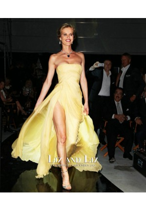 Eva Herzigova Yellow Strapless Chiffon Prom Red Carpet Dress Cannes 2014