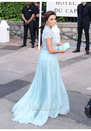 Eva Longoria Blue Lace Chiffon Prom amfAR Gala 2015 Red Carpet Dress