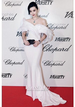 Fan Bingbing White Off-the-shoulder Mermaid Red Carpet Dress Cannes 2015