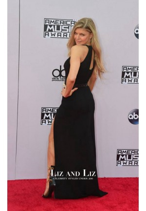 Fergie Black Evening Prom Dress American Music Awards 2014 Red Carpet