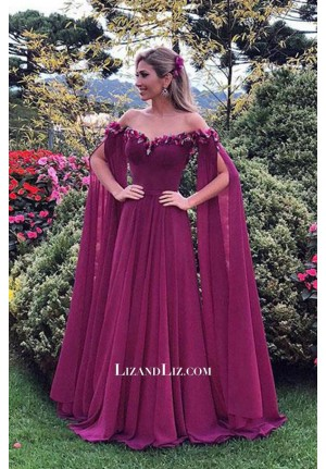 Celebrity Inspired Fuchsia Off-the-shoulder Chiffon Formal Prom Dress