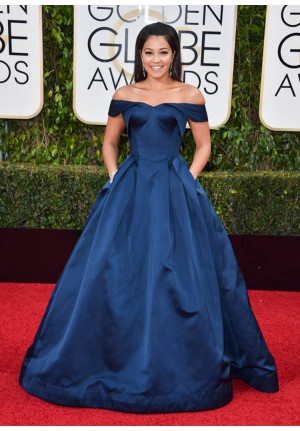 Gina Rodriguez Navy Blue Off-the-shoulder Red Carpet Dresses Golden Globes 2016