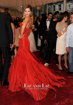 Gisele Bundchen Red Strapless Mermaid Prom Dress Met Gala 2011