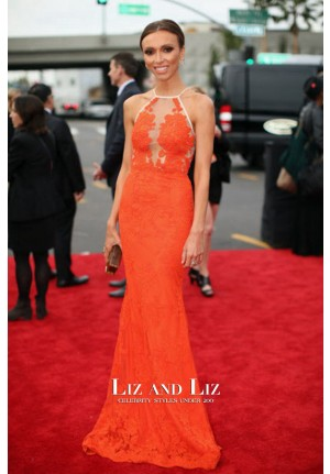 Giuliana Rancic Orange Lace Mermaid Celebrity Dress Grammys 2014 Red Carpet