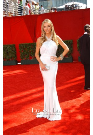 Giuliana Rancic White Halter Formal Prom Red Carpet Dress Emmys 2009