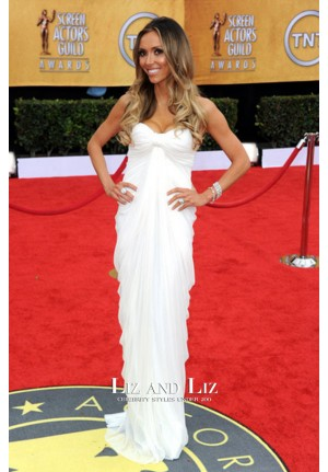 Giuliana Rancic White Strapless Prom Dress SAG Awards 2011 Red Carpet