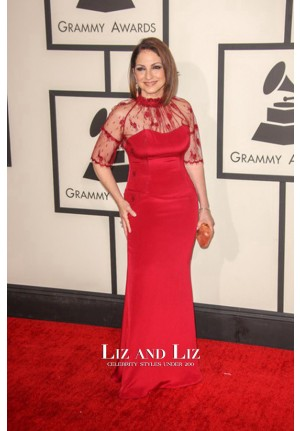 Gloria Estefan Red Lace Satin Prom Red Carpet Dress Grammys 2014