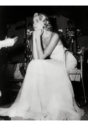 "Grace Kelly White Strapless Chiffon Celebrity Dress in Movie ""Catch A Thief"""