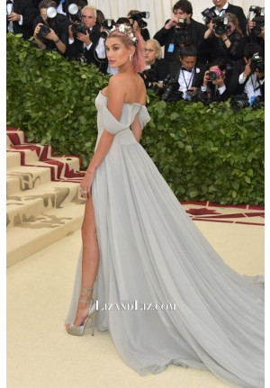 Hailey Baldwin Off-the-shoulder Chiffon Celebrity Prom Dress Met Gala 2018