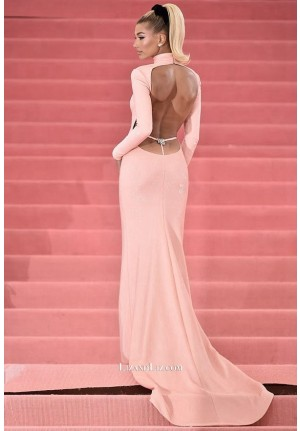 Hailey Baldwin Pink Backless Celebrity Dress Met Gala 2019 Red Carpet