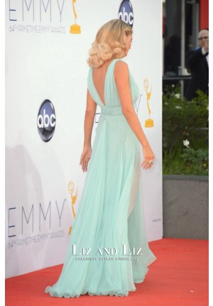Heidi Klum Blue V-neck Chiffon Prom Celebrity Dress Emmys 2012 Red Carpet