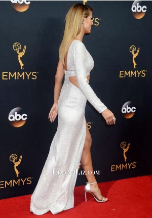 Heidi Klum White Sequin Cut-out Celebrity Prom Dress Emmy Awards 2016