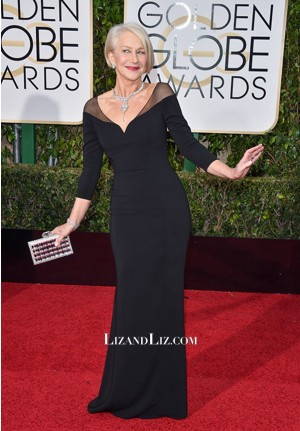 Helen Mirren Black Long-sleeve Evening Prom Dress Golden Globes 2016