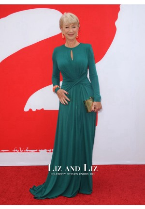 Helen Mirren Green Long-sleeve Celebrity Dress 'RED 2′ LA Premiere Red Carpet