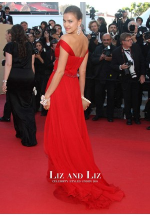 Irina Shayk Red Off-the-shoulder Chiffon Dress Cannes 2012 Red Carpet
