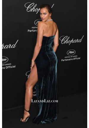 Irina Shayk Dark Green Strapless Velvet Celebrity Prom Dress Cannes 2018