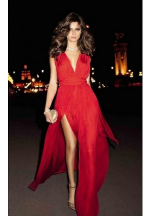 Isabeli Fontana Inspired Red Celebrity Dresses Evening Prom Gown