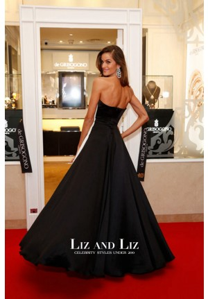Izabel Goulart Black and White Strapless Dress Cannes 2015 Red Carpet