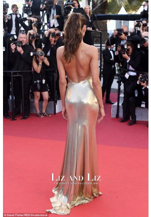 "Izabel Goulart Gold V-neck Backless Dress ""The Last Face"" Cannes 2016 Premiere"