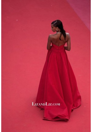 Jasmine Tookes Red Strapless Formal Prom Celebrity Dress Cannes 2018