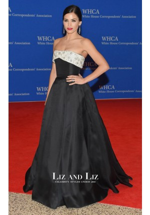 Jenna Dewan-Tatum Black Strapless Prom Dress 2015 White House Dinner